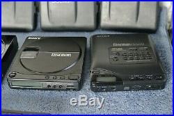 BROKEN Lot of 10 Sony Discman Vintage Portable CD Players D-35 D55 D-9 D-5 D-T10