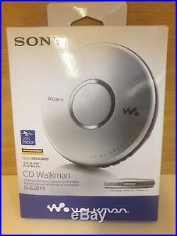 NIB Sony CD Walkman D-EJ011 Silver Headphones Mega Bass Player Portable Vintage