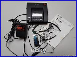 SONY DISCMAN PORTABLE CD PLAYER D-303 works RARE/VINTAGE withadapter & headphones