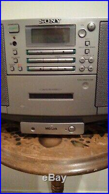 SONY ZS-D5 Portable Boombox Stereo CD Player Cassette Tape Radio MD Link