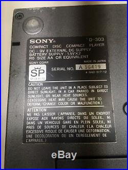 Sony D-303 Discman CD Player With Wall charger