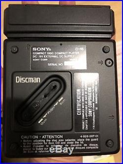 Sony Discman D-88 CD Player Vintage Rare Battery Case Charger Headphones A+ Mint