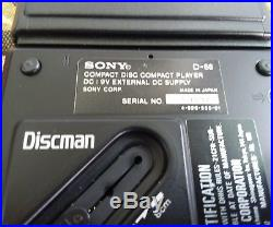 Sony Discman D-88 CD Player Vintage Rare Case Charger Headphones Tested Works