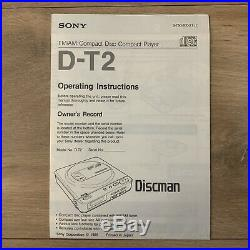 Sony Discman D-T2 Portable CD Player FM/AM Radio Tested Working Rare 1989