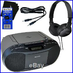 Sony Portable CD Radio Cassette Player Boombox + Sony Headphones + Aux Cable