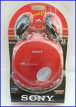 VTG 2003 SONY CD WALKMAN D-E350 PORTABLE PSYC CD PLAYER RUBY RED NEWithSEALED NOS