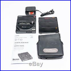 Vintage 1987 Sony D-T10 Discman withBP-100 Battery, Power Adapter, Manual & Case