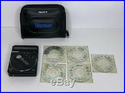 Vintage 1988 Sony Discman D-88 CD Player RARE with Battery Case & 5 CDs