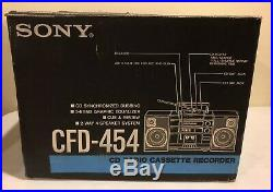 Vintage 80s 90s Sony CFD-454 Portable AM/FM Cassette Recorder CD Player Boombox