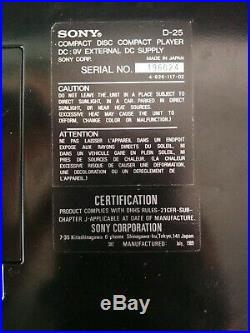 Vintage Sony D-25 audiophile Discman RARE
