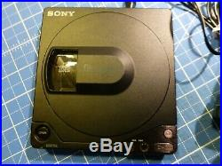 Vintage Sony Discman D-15 Portable CD Player + Hard Case + PSU